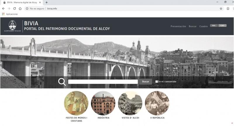 Pàgina d'inici de la BibliotecaVirtual d'Alcoi