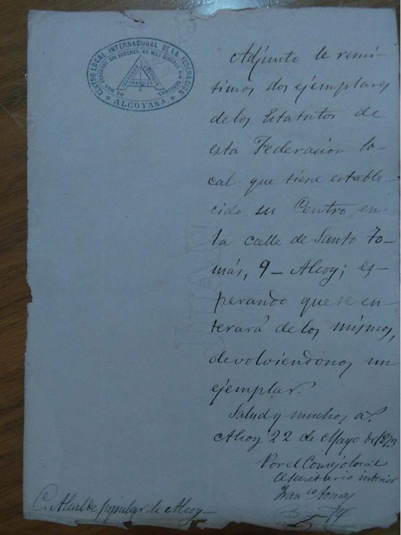 Document que prova que la Federació Regional de Treballadors estava al carrer Santo Tomás d'Alcoi