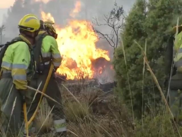 Els Bombers treballen en l'extinció. Imatge de GVA del primer dia de l'incendi.