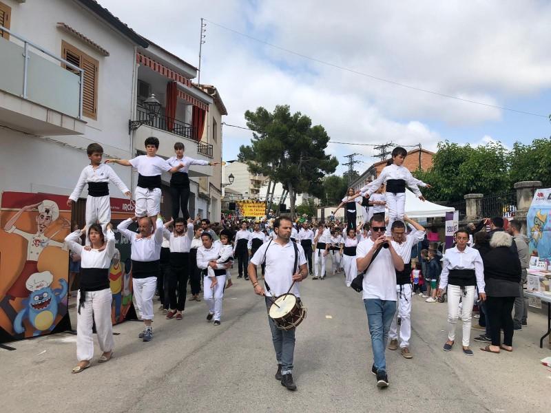 Muixeranga durant la celebració de la Trobada.