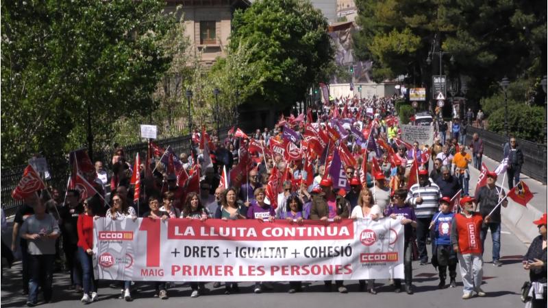 Manifestació de l'1 de Maig. Un dels sindicats és CCOO / Arxiu AM
