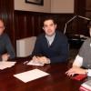 Briet (esquerra) i Blanquer (dreta) amb l'alcalde d'Alcoi / Foto d'arxiu
