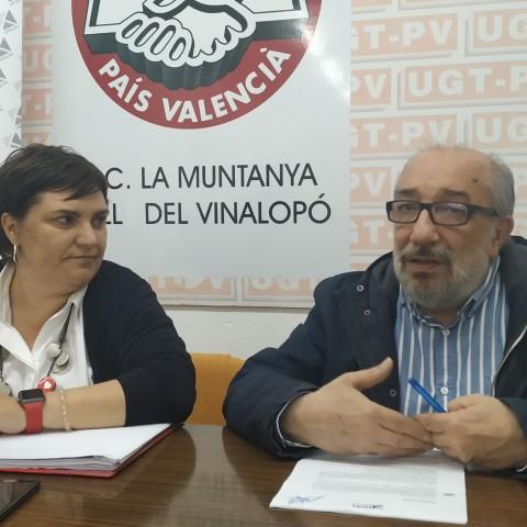 Patrri Blanquer, candidata socialista, amb Javier Pastor, secretari general d'UPTA-PV