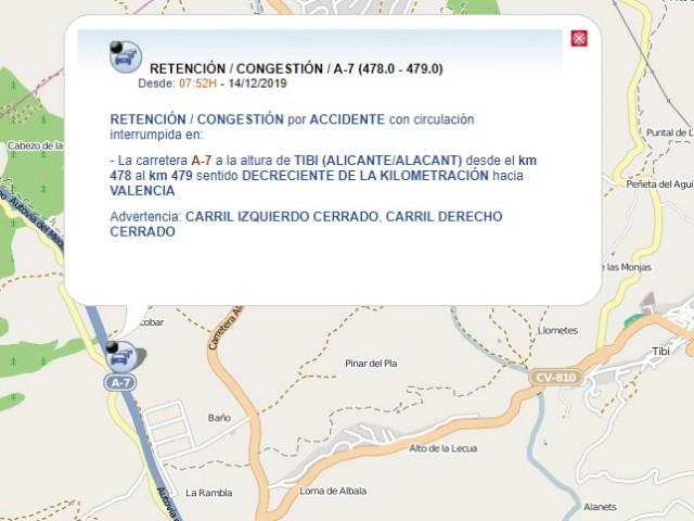 Mapa de la DGT amb el lloc de l'accident