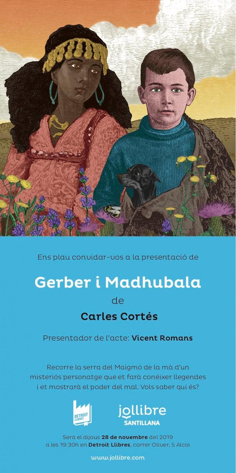 Portada de la novel·la «Gerber i Madhubala» de l'escriptor alcoià Carles Cortés.