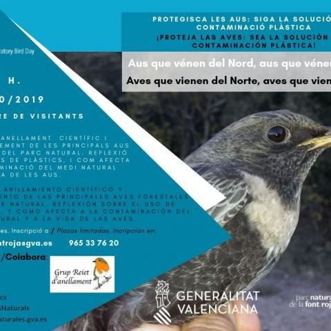 Cartell de  'Aus que vénen del Nord, aus que vénen del Sud' / Parc Natural de la Font Roja
