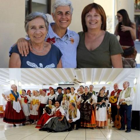 Assun Navarro (foto de dalt, al mig de la imatge), i el Grup de Danses Baladre de Muro (foto de baix).