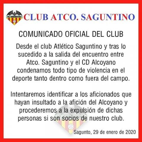 """ElSaguntino""""condemna tota classe de violència"""" després de """"l'intent d'agressió"""" a alguns aficionats de l'Alcoyano"""