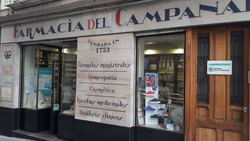 Farmacia el Campanar, fundada en el segle XVIII.