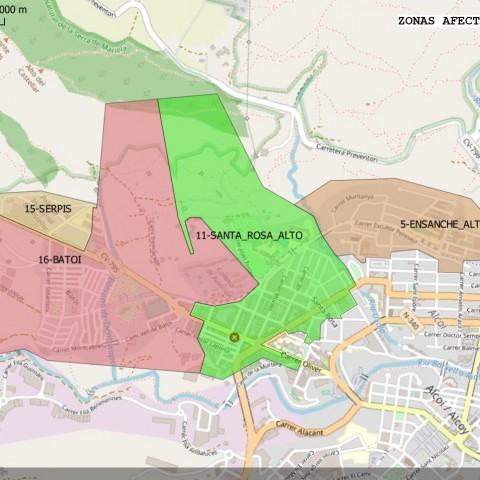 Mapa dels barris afectats per les restriccions, facilitat per Aqualia.