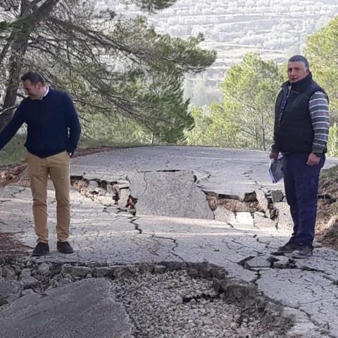 Un dels camins de les comarques afectat. Imatge facilitada per la Diputació d'Alacant.