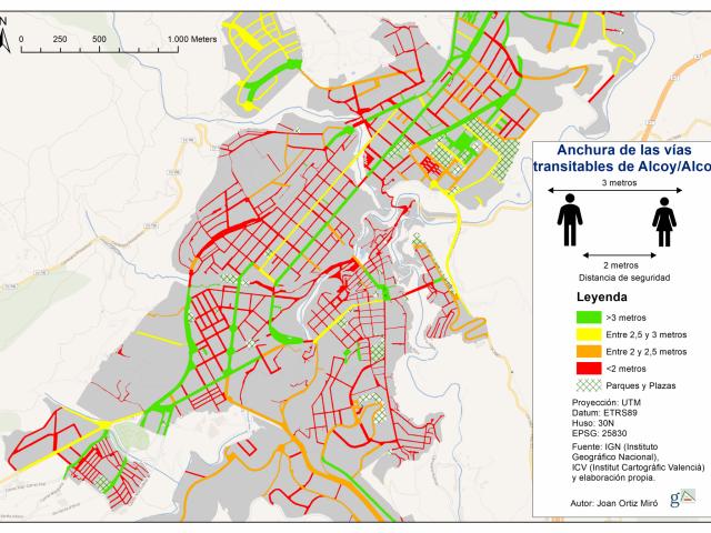 El mapa de les voreres segures a Alcoi