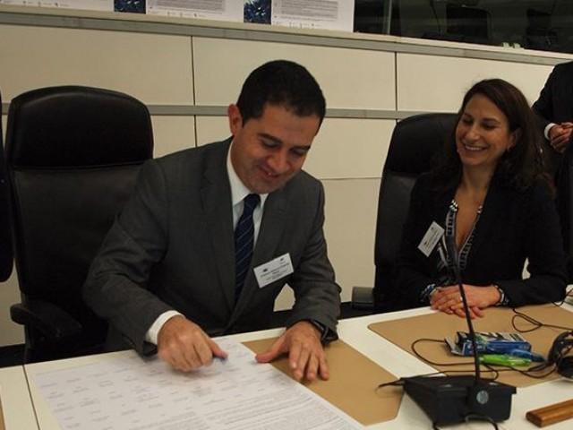 """L'alcalde Toni Francés durant la Cimera d'Alcaldes """"Digital Cities Challenge"""" en Brusel·les a finals del 2018 / Facilitat per l'Ajuntament d'Alcoi"""
