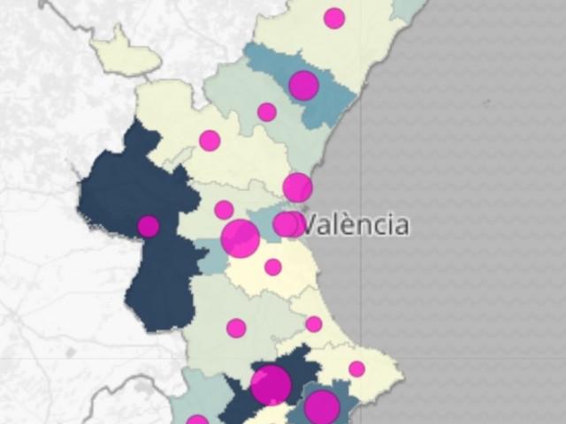 Taxa de morts. Les nostres comarques, en blau obscur, mostren la taxa més elevada de la Comunitat Valenciana.