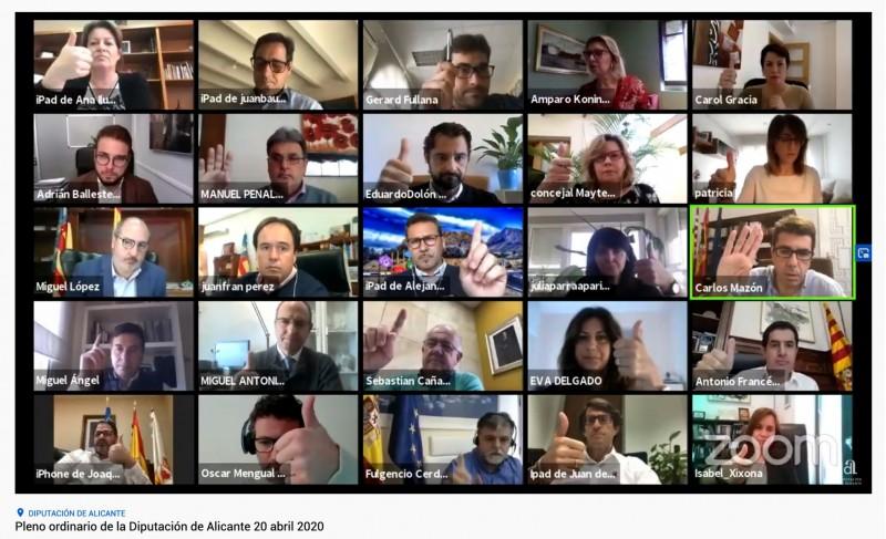 Imatge del plenari en línia celebrat per la Diputació aquest 20 d'abril.