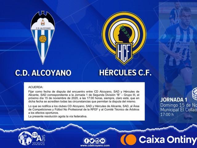 L'Alcoyano- Hèrcules, ajornat per la Covid-19, es disputarà el 15 de novembre