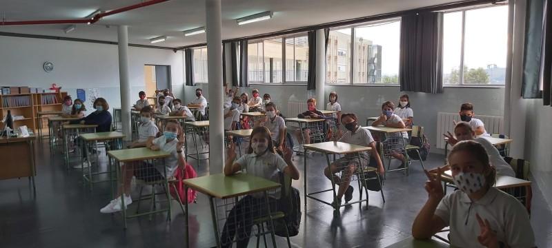 Una de les aules amb la distància de seguretat corresponent /LA SALLE
