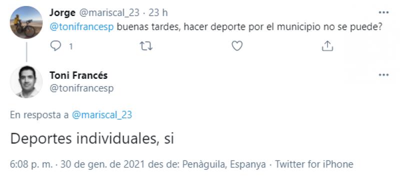 Tweet des de Penàguila./ Twitter