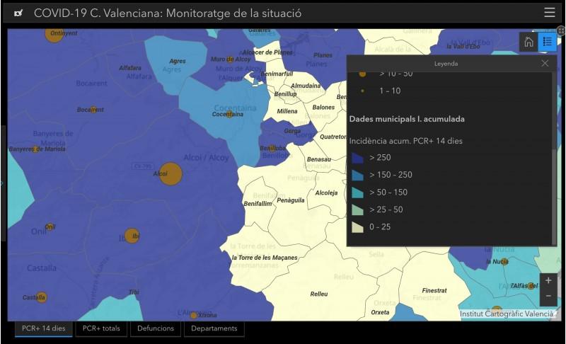 Alcoi i Benilloba, els dos municipis amb major incidència acumulada per 100.000 habitants. Imatge via GVA
