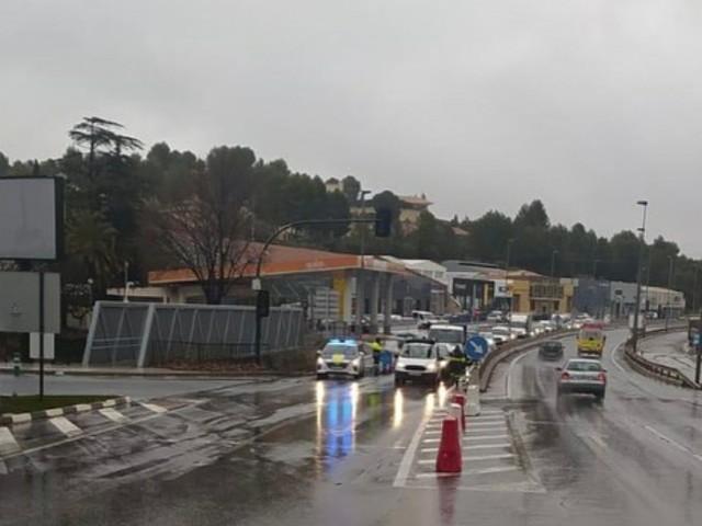 Control policial en l'eixida a València aquest 7 de gener.