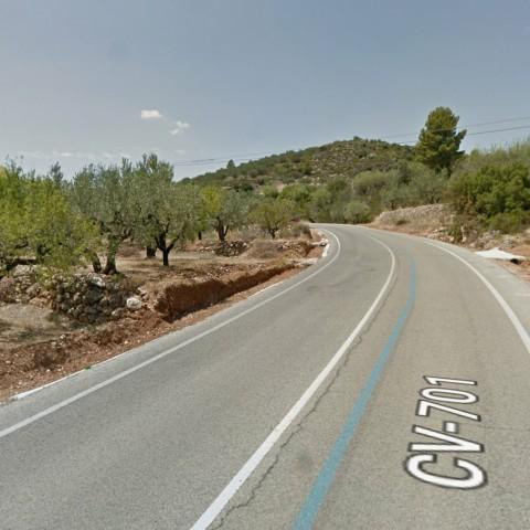 La CV-701 entre Beniarrés i L'Orxa, imatge de google maps