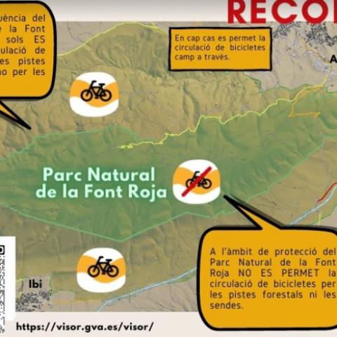 Aquestes són les normes per circular en bicicleta per la Font Roja