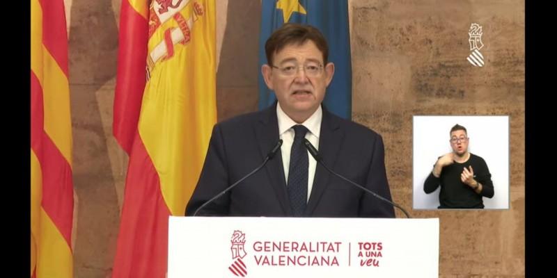 El president Ximo Puig en la seua compareixença aquest 11 de març