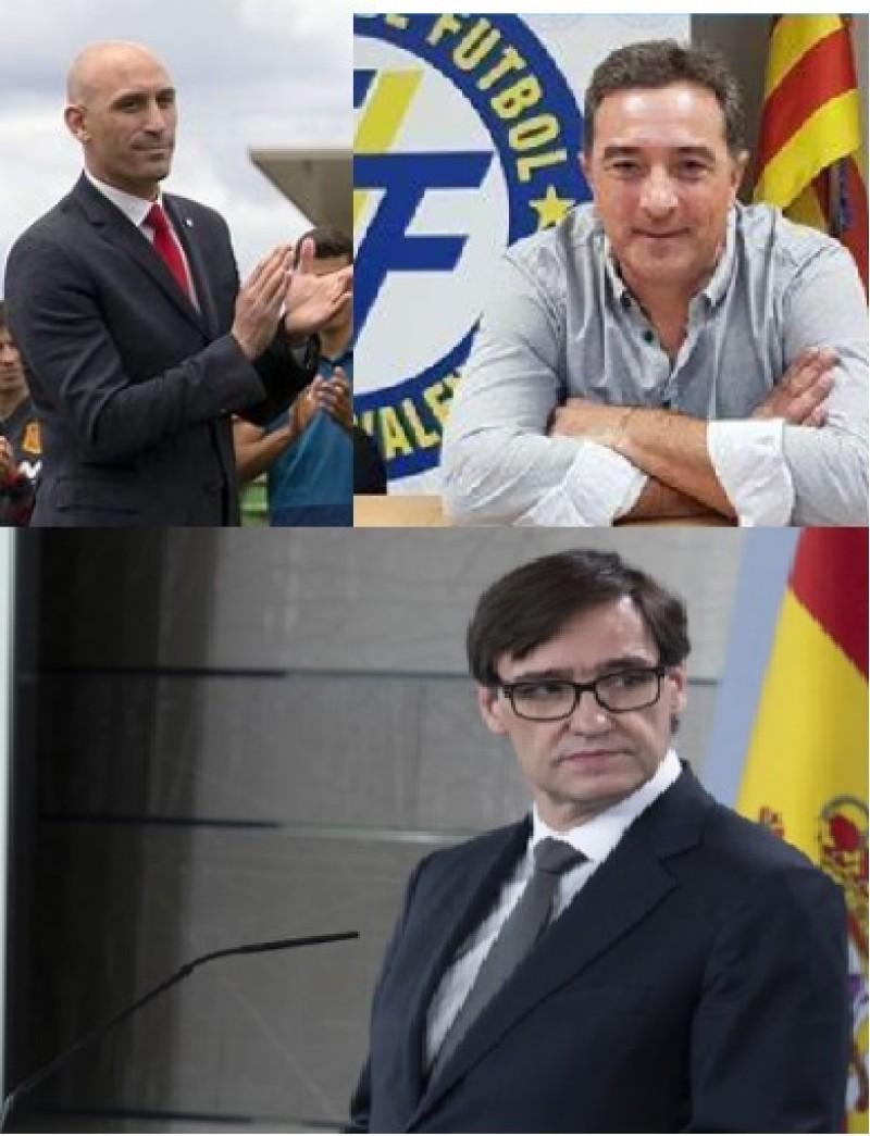 Rubiales (federació espanyola), Gomar (federació valenciana) i el minitre Illa