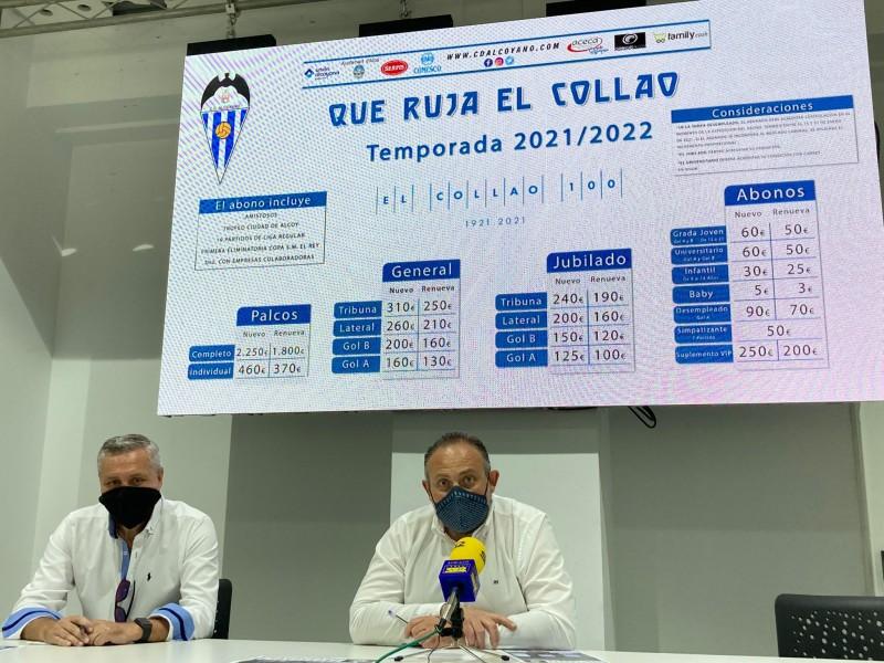 Rafael Pérez, presidente de ACECA, y Antonio Justicia, presidente del CD Alcoyano SAD