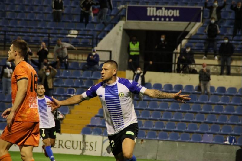 El Torito Acuña marca el gol de l'empat de l'Hércules. Foto: web hércules cf