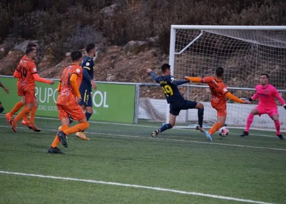 Imatge del gol d'Alex Chico. Foto: Paula Jarque (Atzeneta UE)