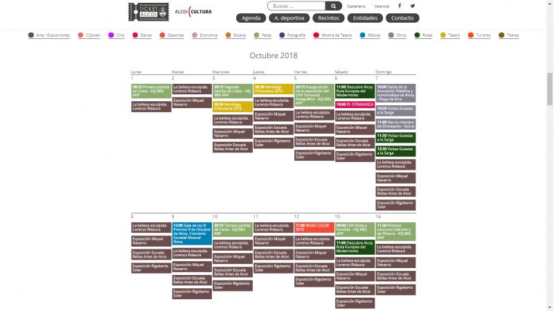 Agenda cultural d'octubre de 2018 en la web TicketAlcoi/AM