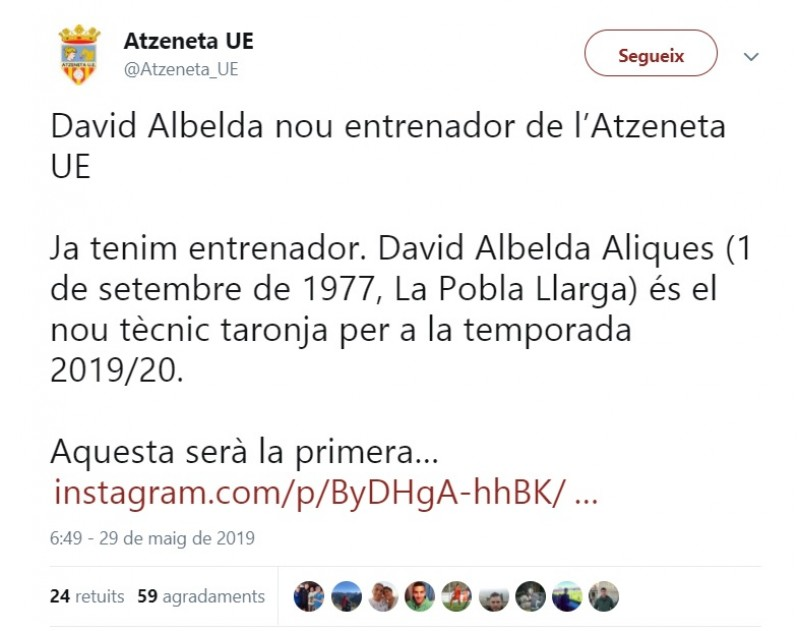 El tuit de l'Atzeneta