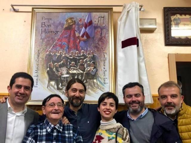 Borrell, acompanyat pel glorier de la Penya i els regidors Llopis, Baca i Martínez, a banda de l'alcalde