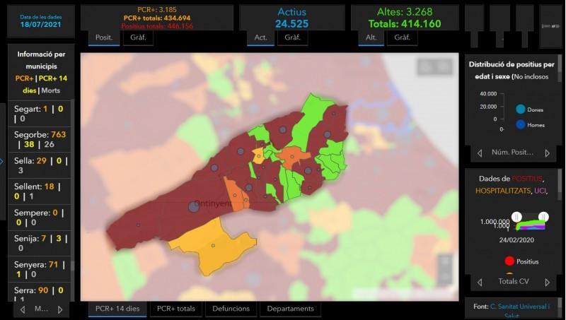Els municipis destacats amb color més fosc presenten una incidència de risc extrem.