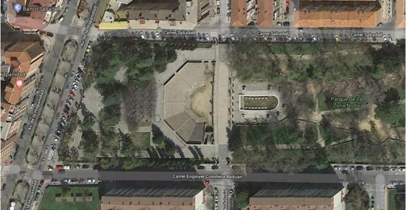 Amfiteatre de la Zona Nord, imatge de Google Maps