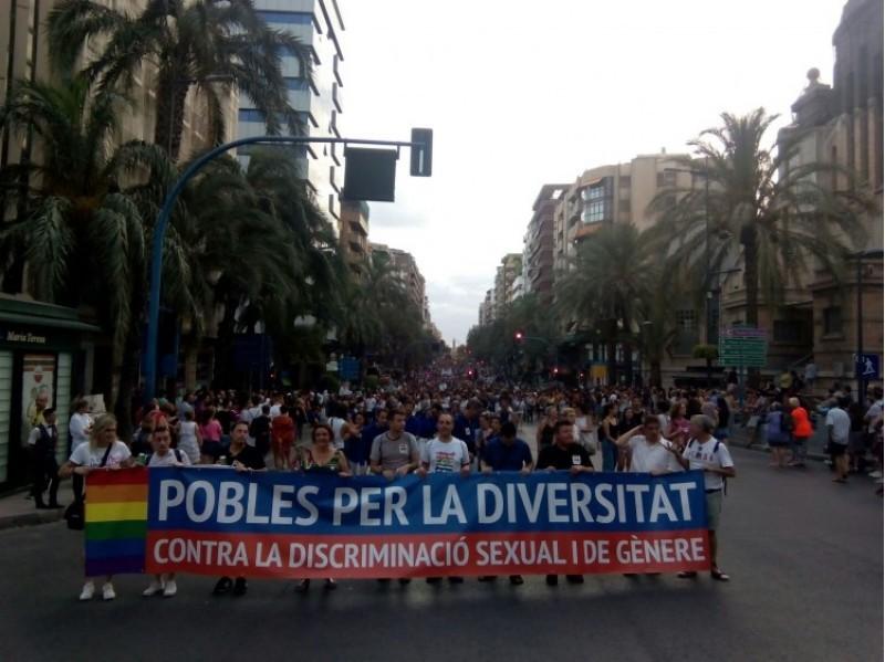 Imatge general d'una manifestació a Alacant pels drets del col·lectiu LGTBI