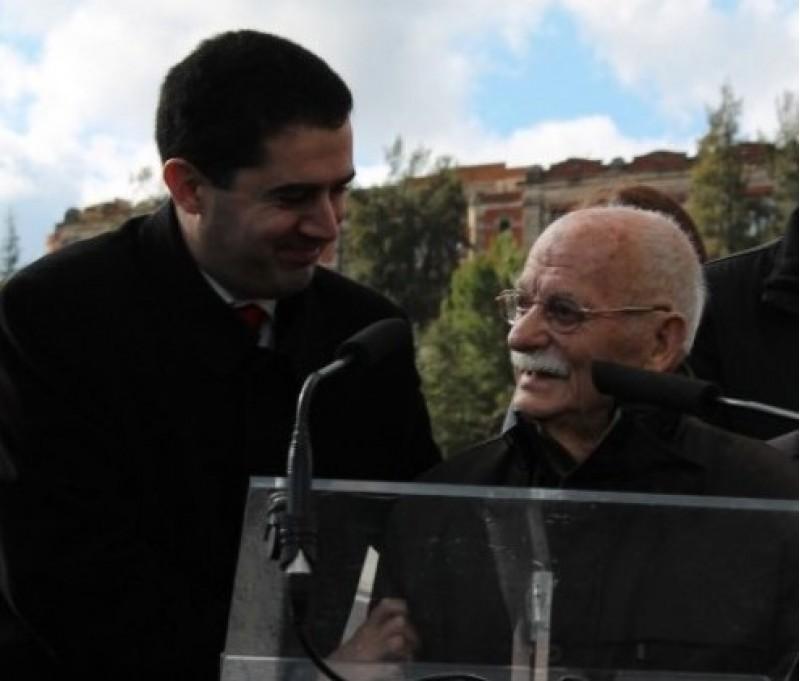 Paco Aura, durant la inauguració del pont que a Alcoi porta el seu nom.
