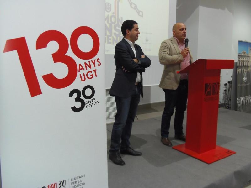 L'alcalde Toni Francés amb el el Secretari Territorial d'UGT-PV, Ismael Senent.