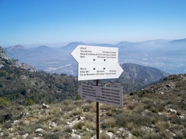 Una imatge d'Internet de les rutes de La Mariola