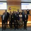 L'alcalde d'Alcoi Toni rancés i la resta de representants dels municipis que entren a formar part de la Xarxa de Ciutats de la Ciència i la INnovació