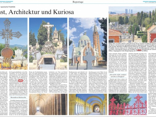 El cementiri d'Alcoi, un dels protagonistes en el reportatge del diari Altöttinger Liebfrauenbote