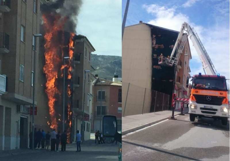 Incendi a Albaida. Imatges dels Bombers