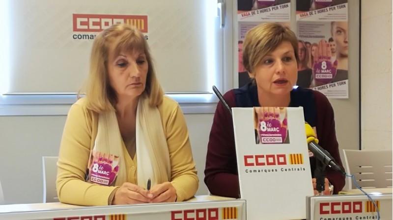 Lupe Pavón, representant del sindicat a l'Hospital; i Manuela Pascual, secretària general de CCOO a les comarques centrals