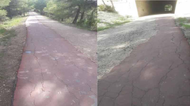 Estat de l'asfalt a la via verda, imatge facilitada per Ciutadans Alcoi
