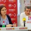 Leticia Pascual d'UGT; i Raül Alcocel, de CCOO, presenten la manifestació de l'1 de maig