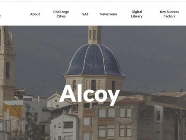 Portada de la web europea on es parla d'Alcoi i el seu projecte
