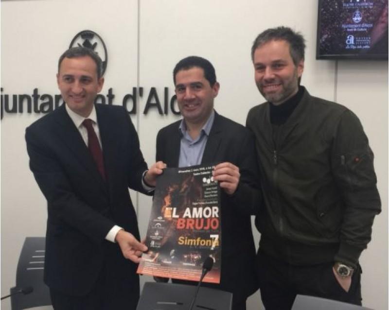 César Sánchez, Toni Francés i Josep Vicent presenten el concert / R. Lledó