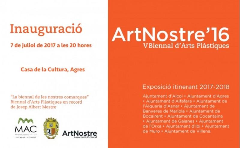 Invitació a l'acte d'inauguració d'ArtNostre a Agres./ AM