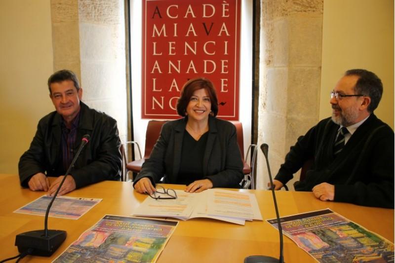 Josep Cortés, del Servei de Promoció i Normalització Lingüística de la UPV; Verònica Cantó, Secretària de l'AVL; i Brauli Montoya, delegat de l'IEC a Alacant.